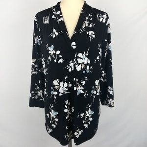 Charter Club Women's Black Floral Blouse. Size XL